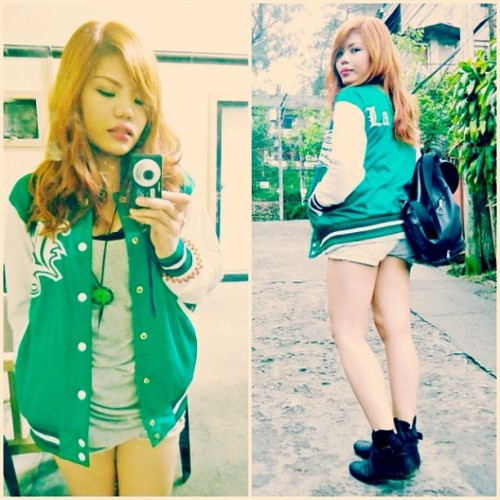 Think green. #OOTD #redhead #boots #jacket #denim