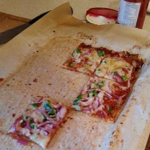 Low carb pizza. Crust is made from cheese so I'm not counting calories in this one, but it was really yummy.