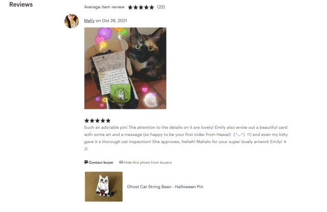 Check out this sweet review I got on my Etsy! thank you so much, Melly! #etsy#etsy shop#artist#small business#illustrator#pin#pins#cats#handmade