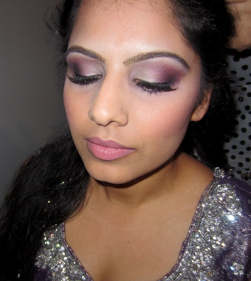 Here's a better view of the makeup I did on a client for her bridal shower :) I used my BH Cosmetics Party Girl palette for this eye look. On her lips are NYX lip liner pencil in Rose, L'Oreal Infallible lipstick in Forever Frappe and Buxom Lip gloss in White Russian. Blush is NARS Orgasm.