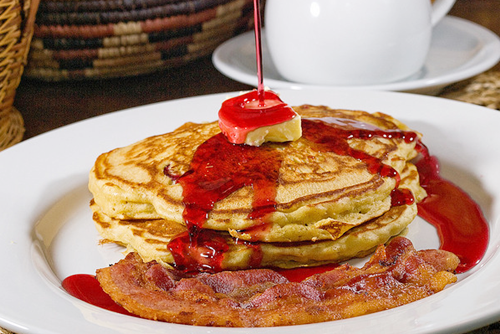 prettygirlfood:  Pancakes with Cranberry-Maple Syrup & Bacon