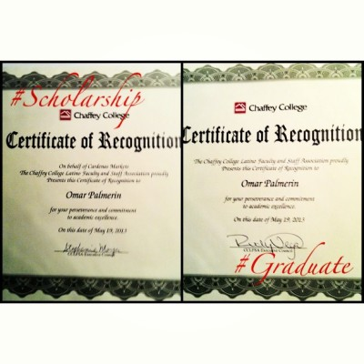 The Chaffey College Latino Faculty and Staff Association, Certificate of Recognition! (On the left) Cardenas Markets scholarship recipient certificate & (on the right) Graduate certificate! 😉😄🎓📜  #ChaffeyCollege #CCLFSA #scholarship #graduate #merp  (at Chaffey College Chino Community Center)