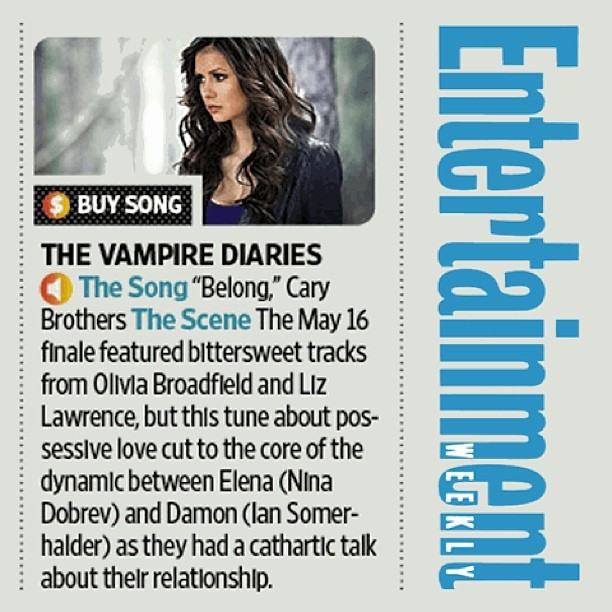 Hey, Entertainment Weekly! Thanks for the nice write-up about my tune on The Vampire Diaries last night.