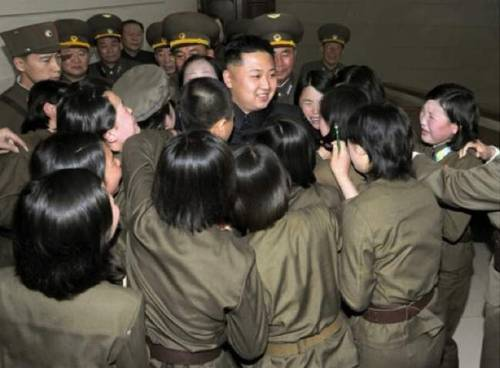 kim jung un looking at all the girls