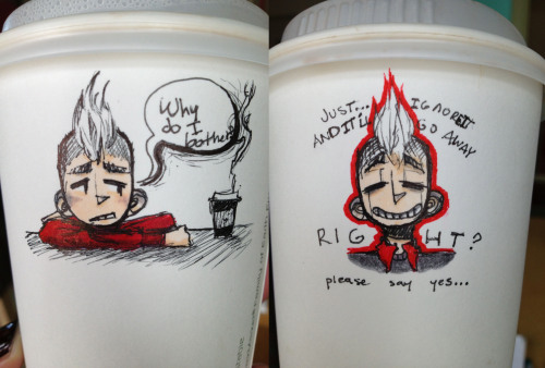Some shitty school/coffee cup doodles from the past couple days, majorly just Rude though OTL