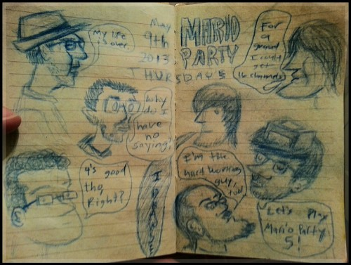 "Caricatures from ""Mario Party Night."""
