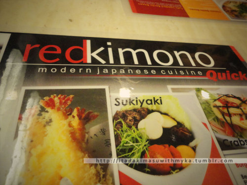 Lunch at Red Kimono~This is their Menu.
