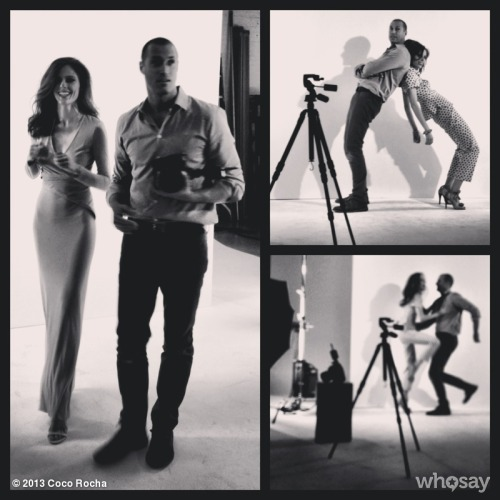 Behind the scenes with Nigel Barker on our Dujour shoot. My favorite pic is the lower right one where I'm showing Nigel my best self defense move!To see the entire editorial go HERE.  View more Coco Rocha on WhoSay