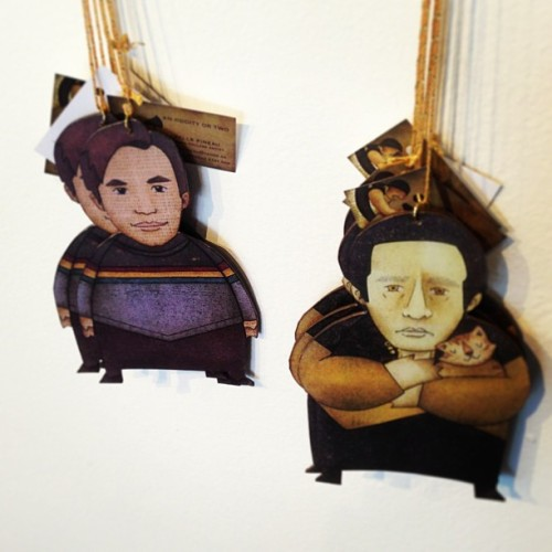 "Wesley Crusher and Data ornaments from Isabelle Pineau at ""May LaForge Be With You"" Star Trek/Star Wars art show. / on Instagram http://bit.ly/10lkiRm"