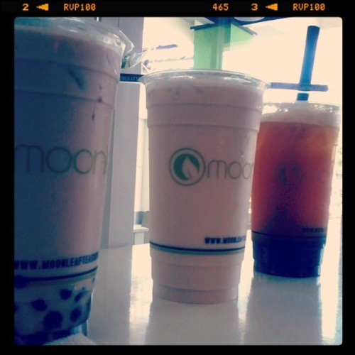 ♥tiramisu milk tea♥ @trendywitch1226 ★wintermelon★ @don2cardona ★honeymilk tea + milk? hehehe.. yummy… thank u don (at moon leaf gen. luna)