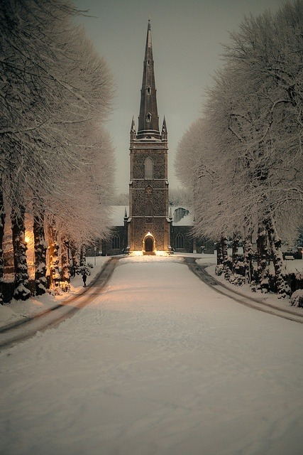 bluepueblo:  Snowy Night, Hillsborough, Northern Ireland photo via totsy