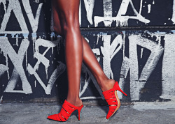 Be a red hot child in the city with Alexander Wang's 'Britt' Suede Cut-Out Mules.Photo: Romer Pedron