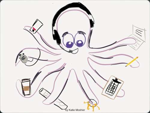 Today I…drew a stage manager octopus after being inspired by some tangent made in class today. I'm basically in love with it.