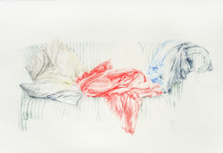 Red Drapery, colour pencil on paper, 2012