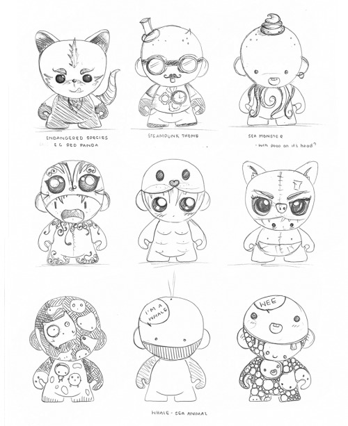 I discovered some of my old concept sketches for Munny, University project.