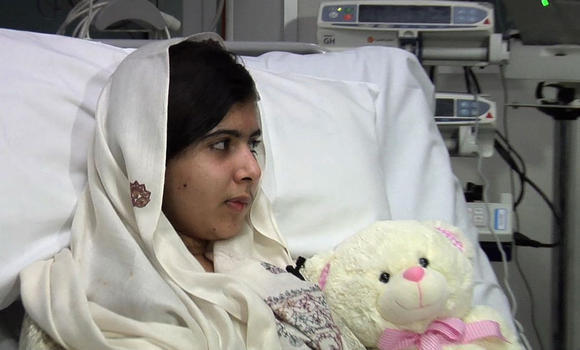 latimes:  15-year-old Malala Yousafzai, who was shot by the Taliban in October for defying the group's ban on girls' education, has been discharged from Queen Elizabeth Hospital in Birmingham after cranial reconstruction and a cochlear implant to restore hearing in her left ear. Photo: University Hospitals Birmingham / AFP