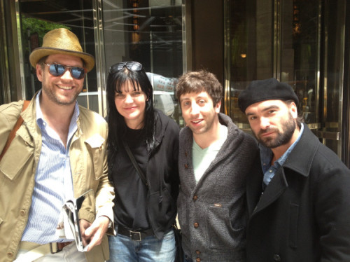 @PauleyP: LOVE THIS PIC! Me @M_Weatherly @SimonHelberg and Johnny Galecki in NYC. #NCIS #BigBangTheory Fun!