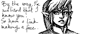 So I was on Miiverse the other day and Link Making Faces fan Waann graciously drew this for me!!  Although Link himself doesn't look too happy with it. ;) (by Waann @ Miiverse.  Thanks again!!)