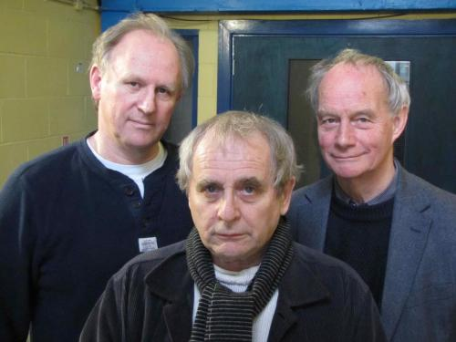 Peter Davison, Sylvester McCoy and Geoffrey Beevers at the studio for Doctor Who: The Light at the End, out on audio in November 2013 via the Big Finish Productions Facebook page