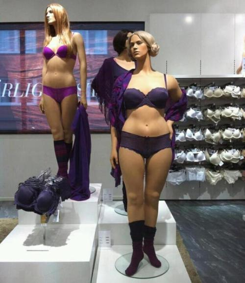 Stores in Sweden now have mannequins of  different shapes and sizes, from plump to curvy to thin to athletic. It's nice to see they appreciate the different forms of beauty, and it's definitely amazing that they're willing to break the media's perception of a beautiful woman.