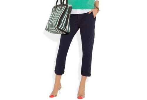instead of a skirt, wear pants… loving this look for it's colors and stripes