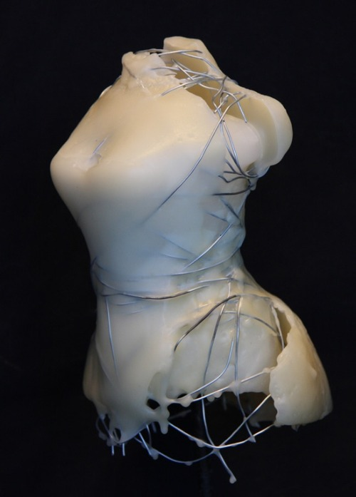 "darksilenceinsuburbia:  Kim Bruce. Dress Maker 2, 2009. Cast beeswax with 20 ga wire, 6.5 x 4.5 x 4"".  Website"