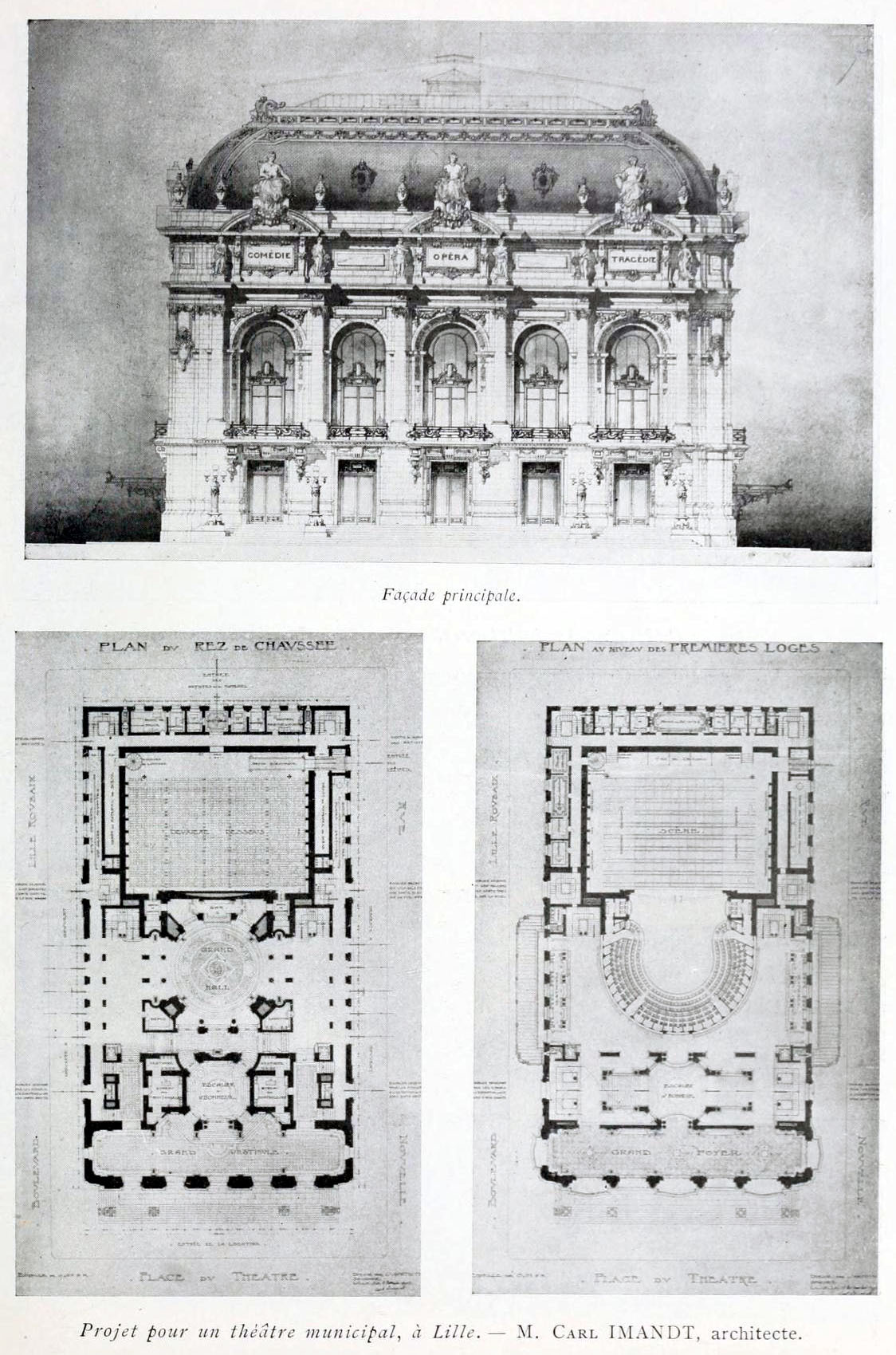 Project for a municipal theatre, Lille