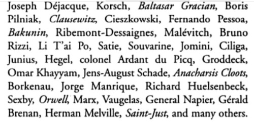 Authors published by Champ Libre. Italicized authors had their complete works published.
