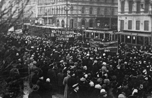 1917, Saint Petersburg. The first day of the February Revolution in Russia - a feminist meeting turned into a riot