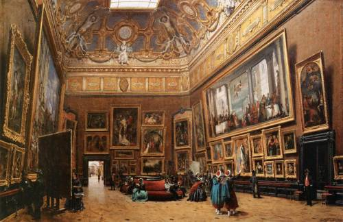 Giuseppe Castiglione View of the Grand Salon Carré in the Louvre 1861 Musée du Louvre, Paris  The game is to recognize every painting displayed here.