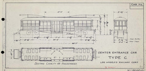 "Center Entrance Car Type C on Flickr. circa 1944. Specifications for a Type C. streetcar operated by the Los Angeles Railway Corporation. Seating capacity: 48 passengers ""M-2082-A"""