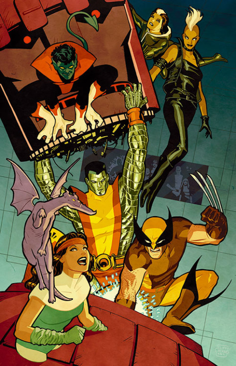X-Men in the Danger Room as the New Mutants watch. Drawn by Cliff Chiang.