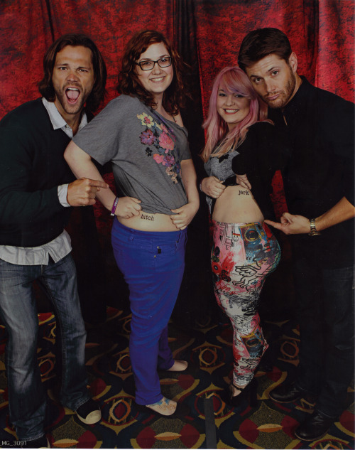 "homoosesexual:  I explained to Jensen that Hannah and I got jerk/bitch tattoos and wanted to show them in the photo op. You should have seen Jensen's face omfg and the wary way Jared asked where we got them. Once they agreed we asked them if they wanted to stand by the bitch or the jerk and Jared was like you guys pick and then I looked right at him and was like ""NO you pick"" and he quickly was like ""Alright I'll be the bitch!"" and then as we were leaving they started laughing and Jared said ""I can't believe I just said I'll be the bitch"""
