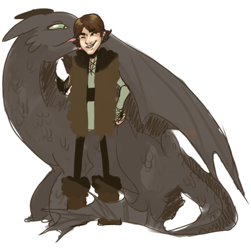 kotalines:  quick hiccup and toothless doodle from memory