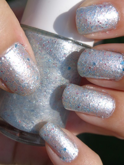 Custom Silver polish  - a silver foil polish with turquoise and pink hex glitter.  This is 2 coats.
