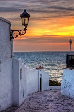 bluepueblo:  Sunset Lantern, Malaga, Spain photo via jolanda