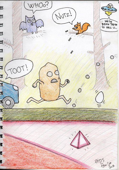 Action-packed Potatoman artwork by Aino Lius.