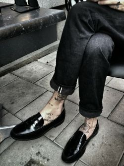 fashion shoes tattoos menswear Yves Saint Laurent YSL loafers saint laurent paris Saint Laurent