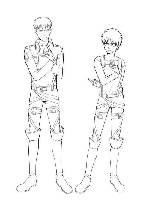 barlee:  I forgot to post this… I'll probably color it anyway. I can't decide if I wanted Jean to respond or simply be saluting… thoughts? Eren's probably more mature than this but whatever lol XD