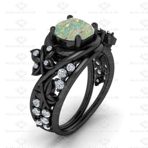 por queue? under 600 ring engagement ring wedding ring opal black sterling silver goth gothic nu goth pastel goth sapphire studios gift cute finds fashion blog shopping blog