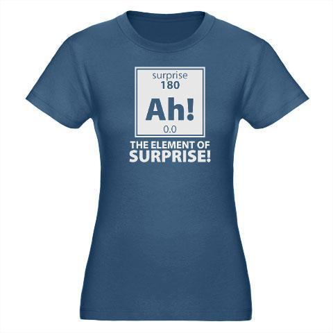 If the element of surprise were on the periodic table this is what it would look like. See the shirt at Geeky Teez. #shirtoftheday