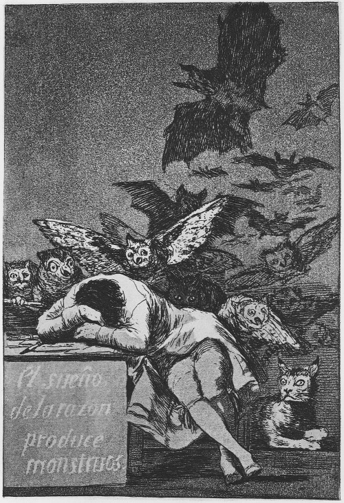 centuriespast:  i12bent:Francisco Goya (Mar 30, 1746 - 1828): The Sleep of Reason Produces Monsters - No. 43 from Los Caprichos (The Caprices), 1796-98; published 1799 - Etching and aquatint