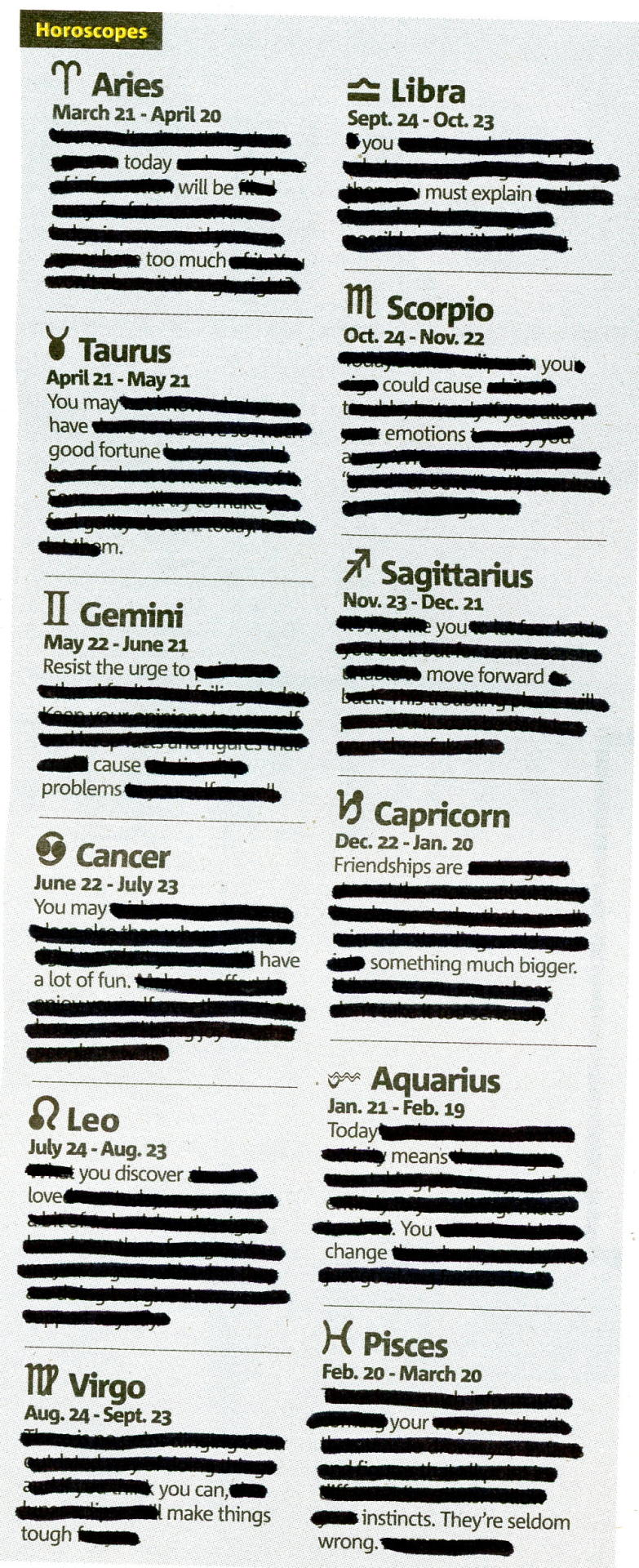 HOROSCOPE - APRIL 25, 2013