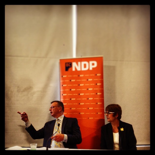 Let the games begin: NDP Election Platform co-chairs Bruce Ralston and Carole James wait for media to gather. #bcpoli #vancouver #ndp  (at Simon Fraser University)