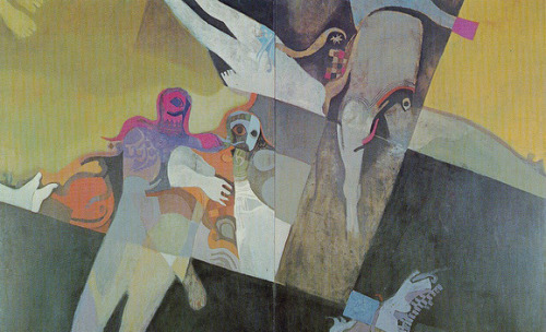 """Martyrs,"" painted in 1972 by Dia Azzawi, is one of many works lost after the Iraqi Museum of Modern Art (the former Saddam Center for the Arts) was looted. See more photos from the Middle East in Al-Monitor's galleries."