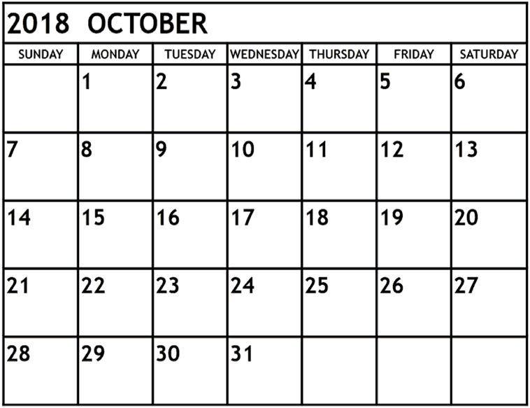 Blank October 2018 Calendar