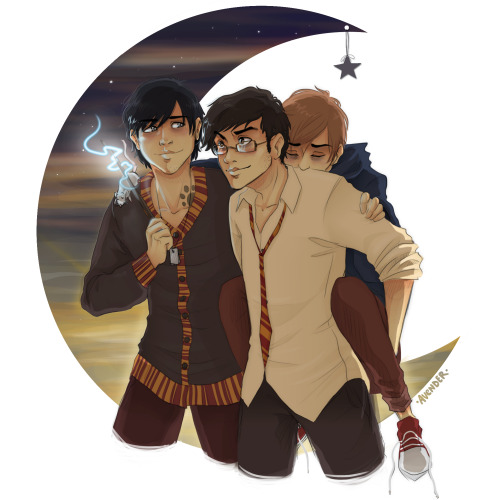 comealongpie:  avender:  The Marauders, the morning after a full moon.  #what if peter transformed out of his animagus form while still on sirius shoulder#omg could you imagine the look of panic on sirius face as he just falls to the ground#compressed by the weight of human peter holy hell[via quibblrs]
