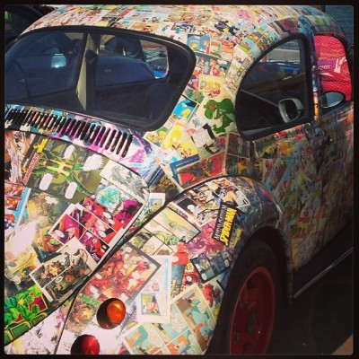 Amazing car was covered in marvel comics!