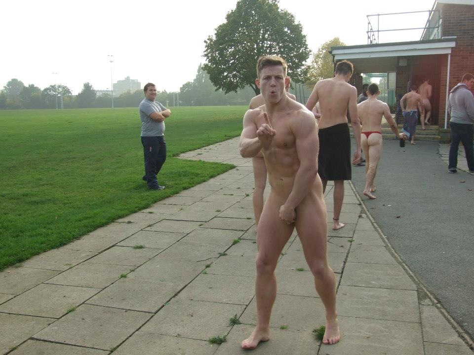 forbiddensights:  Hot as fuck naked rugby lad    Yum