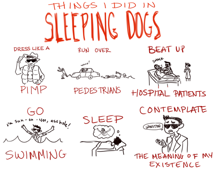 robotpop:  Sleeping Dogs is a really awesome game my boyfriend has been playing lately. He let me play it while he took a break and these are the things I accomplished.  WINSTONNNN ;(